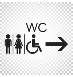 wc toilet flat icon men and women sign for vector image
