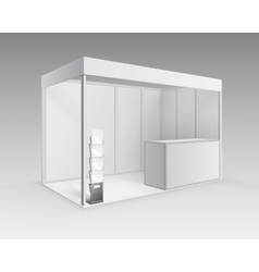 White exhibition Stand with Brochure Holder vector