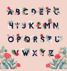 Winter bloom alphabet design with flower foliages vector