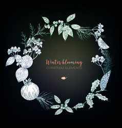 Winter christmas floral wreath vector