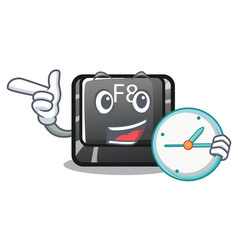 With clock button f8 isolated with cartoon vector