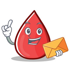 With envelope blood drop cartoon mascot character vector