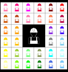 Worker sign felt-pen 33 colorful icons at vector