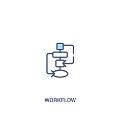 Workflow concept 2 colored icon simple line vector
