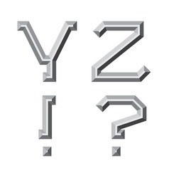Y z gray faceted letters exclamation and vector