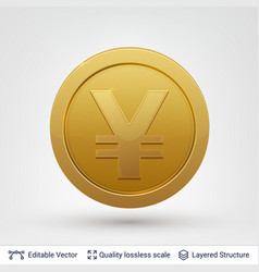 Yen symbol on round coin with drop shadow vector
