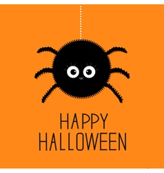 Big hanging fluffy spider Happy Halloween card vector image vector image