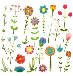 Colorful Cartoon Wild Flowers Isolated Collection vector image