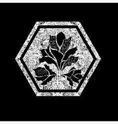 floral logo 02 grunge vector image vector image