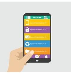 Hand holing black smartphone vector