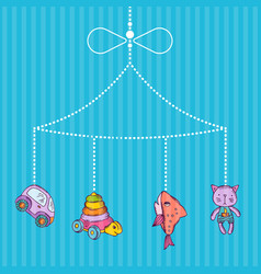 hanging hand drawn kid toys vector image vector image