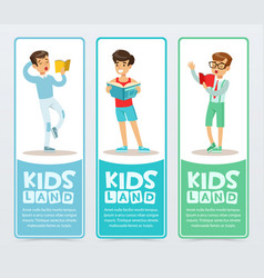 set of vertical banners with teenagers reading vector image
