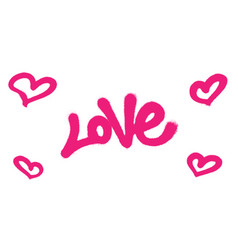 sprayed love font graffiti with overspray in pink vector image vector image