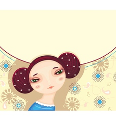 Girl Face Flower Card vector image