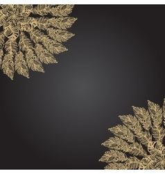 Gold feather hand drawn round rosette on black vector image