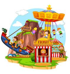 happy children riding in funpark vector image