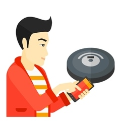 Man with robot vacuum cleaner vector image