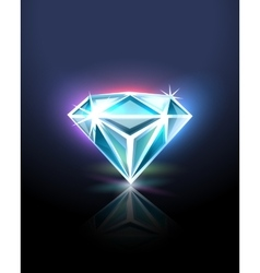 Diamond on black vector image
