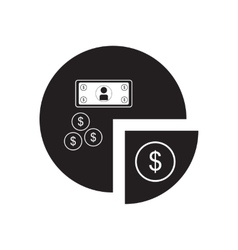 Flat icon in black and white financial chart vector image vector image