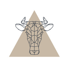 geometric cow head animal icon vector image vector image