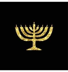 Hanukkah candleholder golden silhouette Gold vector image