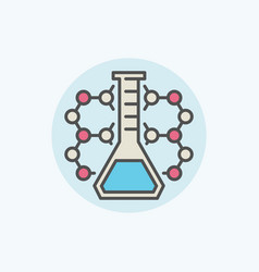 molecule with flask icon vector image