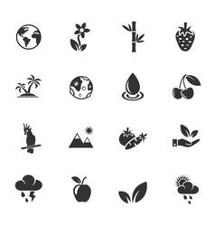 nature icon set vector image
