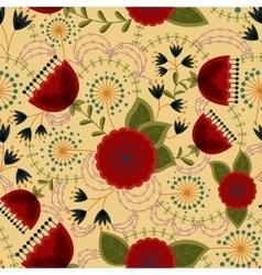 Poppy and dandelion seamless pattern retro vector image vector image