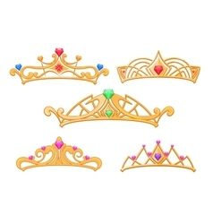 princess crowns tiaras with gems cartoon vector image vector image