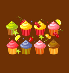 set fruit cupcakes vector image vector image