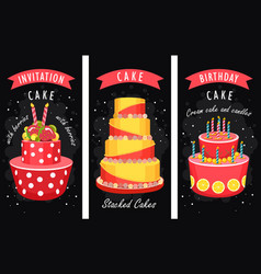 Cake business card vector