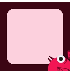 greeting card with a funny pink bird vector image vector image
