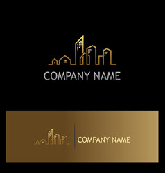 line building cityscape gold logo vector image