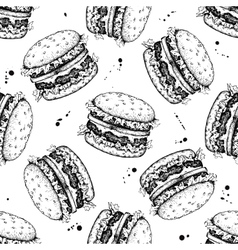 seamless vintage burger pattern Hand drawn vector image