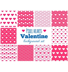 Set of seamless pixel art heart patterns vector image