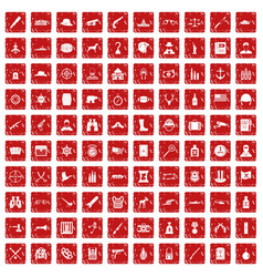 100 bullet icons set grunge red vector image