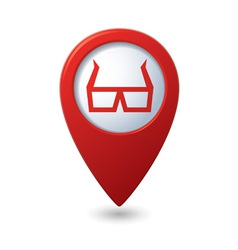 3d cinema glasses icon red pointer vector image vector image