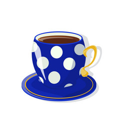 A tea cup with saucer deep blue color vector