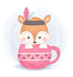 adorable boho fox vector image