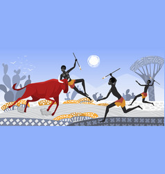 African people with spears hunt wild animals vector