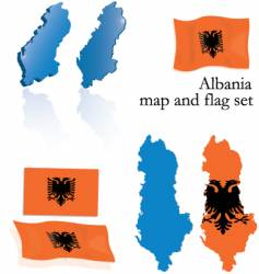 Albania map and flag set vector image