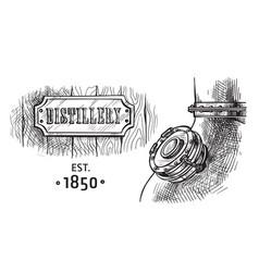 Alembic still for making alcohol inside distillery vector