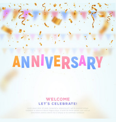 anniversary colorful paper word and falling down vector image
