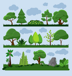 Background landscape with tree and grass vector