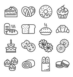 bakery line icons - bread pies cookies donuts vector image