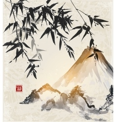 Bamboo trees and Fuji mountain vector