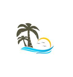 Beach and coconut tree logo vector