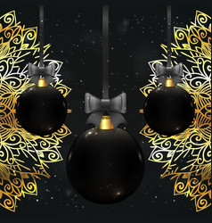beautiful christmas balls in black color vector image