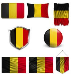 Belgium flag glossy button vector