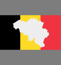 Belgium national flag with transparent map empty vector